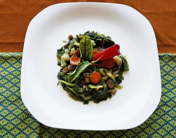 Espinacas con chorizo vegano