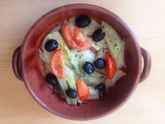 Receta de hinojo con salsa de vino