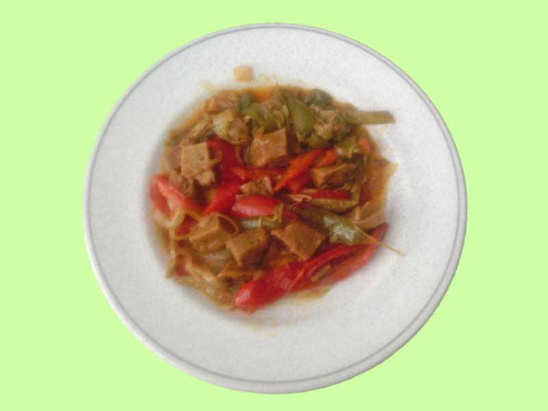 Salteado de seitán con verduras